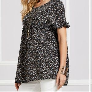 Black Floral 1x Tunic by Suzanne Betro